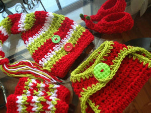 Christmas Elf Crochet Hat, Diaper Cover, Legwarmers and Booties Set