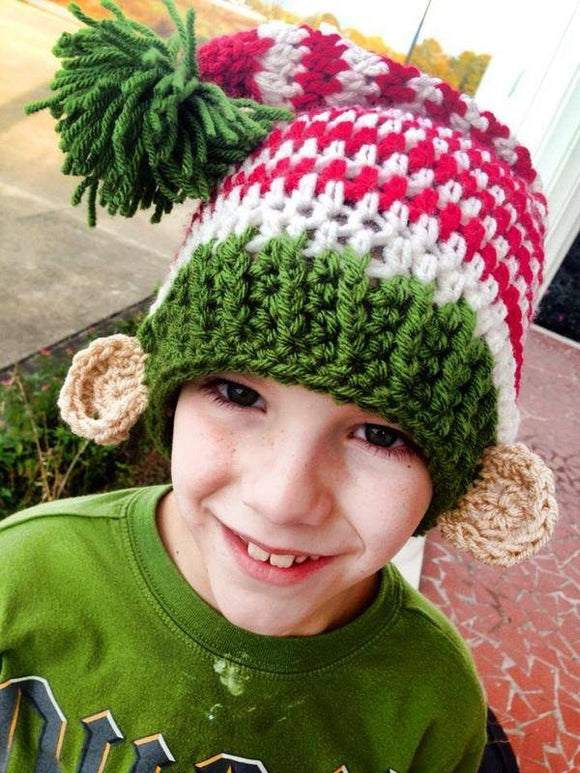 Long Tail Pom Crochet Hat with Elf Ears - Maddies Mad Hatters