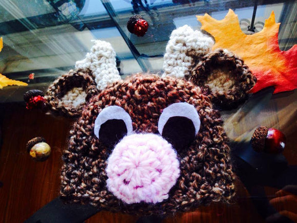 Christmas Reindeer Chrochet Hat - Maddies Mad Hatters