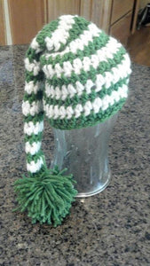 Green and White Elfin Hat