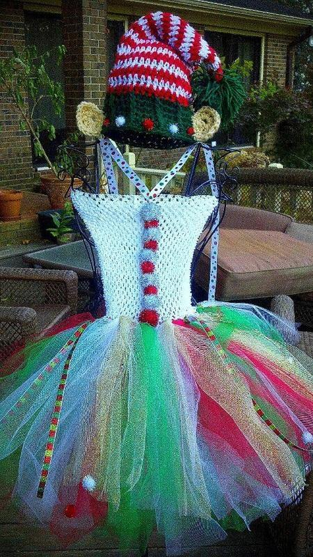 Christmas Tutu Dress and Long Tail Pom Crochet Hat with Elf Ears - Maddies Mad Hatters