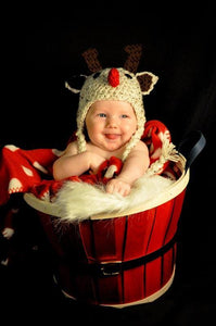 Reindeer Hat with crochet ties and Red bow