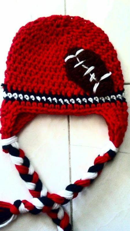 Football Crochet Hat (any color of your choice) - Maddies Mad Hatters