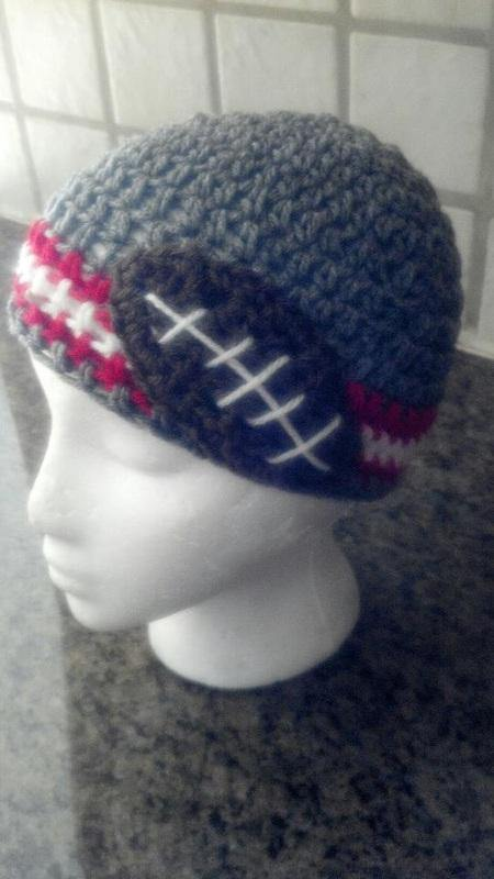 gray with red trim football hat