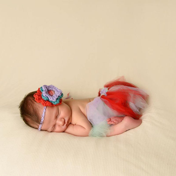 Lavender Red and baby blue tutu headband combo