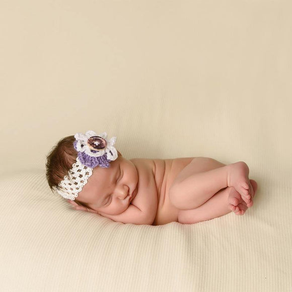 Crochet Headband with Flower and Wooden Button - Maddies Mad Hatters