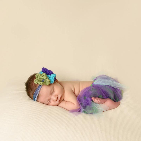 Peacock colors tutu and headband combo