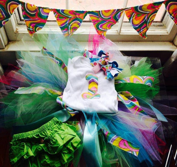 Birthday Set! Onesie, Bloomers, Bow, Tutu and Banner - Maddies Mad Hatters
