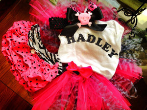 Personalized Onesie with Matching Tutu and Crochet Hairband with Bloomers Set