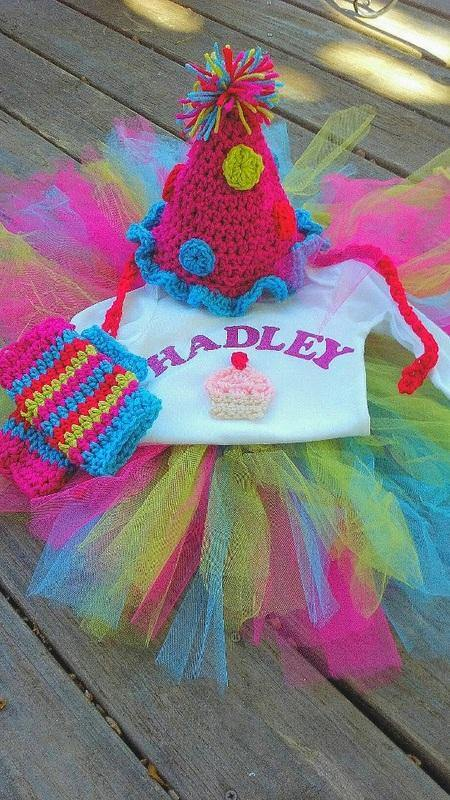 Birthday Set! Personalized T-Shirt, Crochet Hat, Tutu and Legwarmers - Maddies Mad Hatters