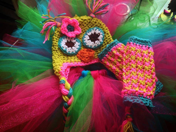 Fiesta Owl Crochet Hat, Tutu and Legwarmers Set - Maddies Mad Hatters