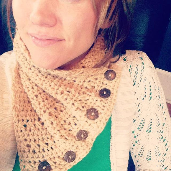 Crochet Cowl with Wooden Buttons - Maddies Mad Hatters