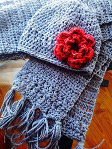 Crochet Scarf and Hat w/Flower Set - Maddies Mad Hatters