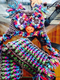 Owl Crochet Hat & Scarf Set with Novelty Yarns - Maddies Mad Hatters