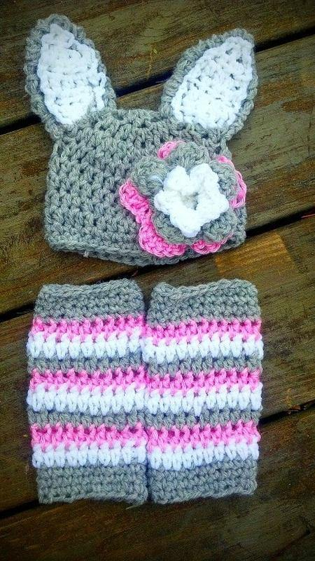 Bunny Rabbit Crochet Hat and Legwarmer Set - Maddies Mad Hatters