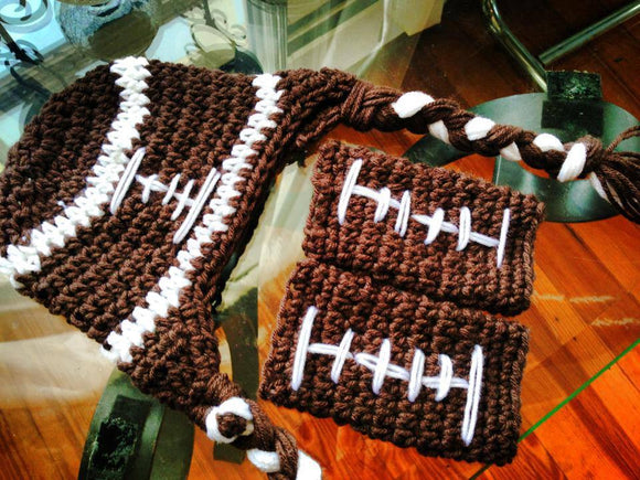 Football Crochet Hat and Legwarmer Set - Maddies Mad Hatters
