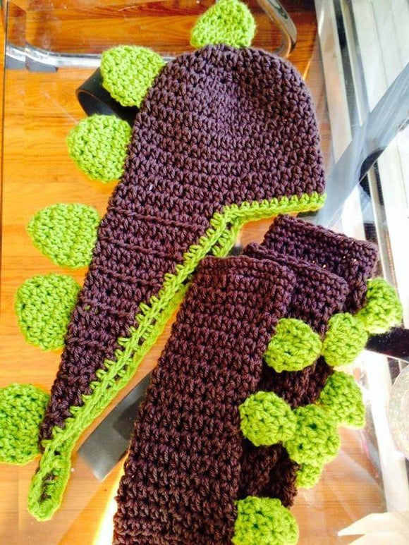 Dino hat and legwarmer set