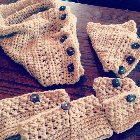 'Mommy & Me' Matching Crochet Boot Cuff and Cowl Set (any color of your choice) - Maddies Mad Hatters