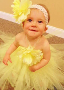 Crochet Headband with Large Flower and Matching Tutu Set