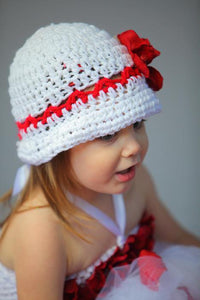 Cloche Crochet Hat with Flower - Maddies Mad Hatters