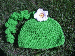 Ponytail Crochet Hat with Flower - Maddies Mad Hatters