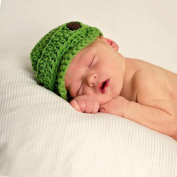 Spring Green Crochet Newsboy Hat with Wooden Buttons