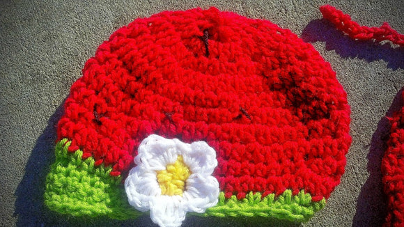 Stawberry Daisy Newsboy Crochet Hat - Maddies Mad Hatters