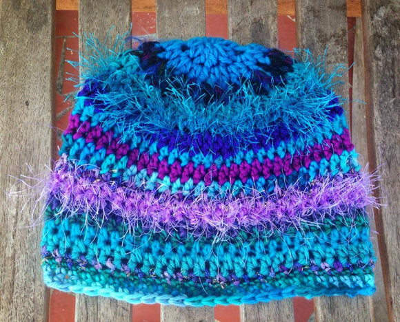 Peacock Crochet Hat - Maddies Mad Hatters