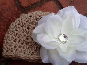 Thick & Thin Hand-spun Crochet Hat with Large Flower