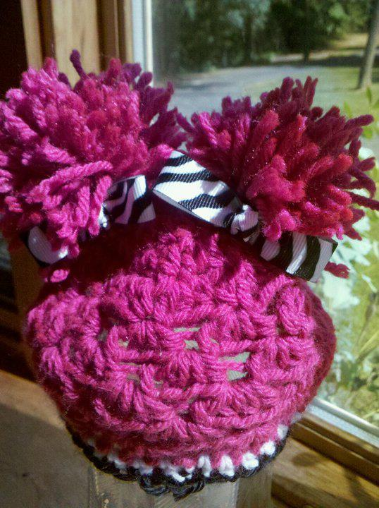 Pom Pom Crochet Hat with Zebra Bows