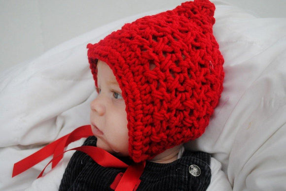 Little Red Riding Hood Crochet Hat with Ribbon - Maddies Mad Hatters