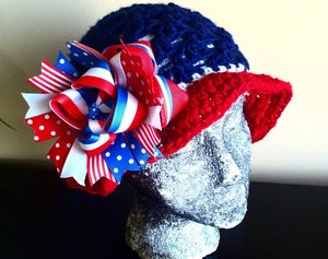 "Patriotic sunhat with removable 6"" stacked bow"