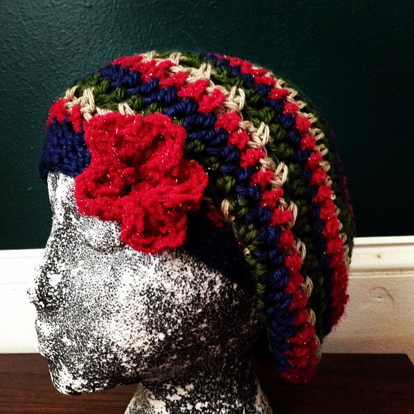 Red green cream and navy blue slouch hat