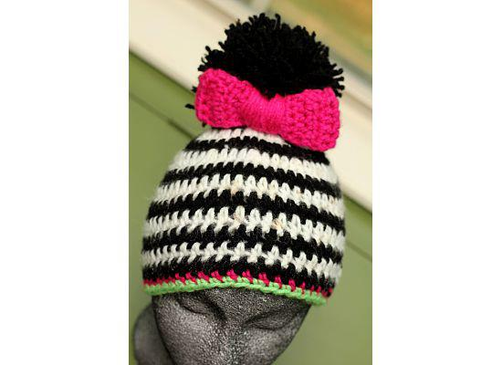Zebra Striped Pom Crochet Hat - Maddies Mad Hatters