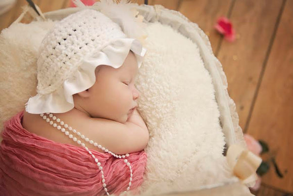Ruffled Crochet Bonnet Hat with Beaded Tassels - Maddies Mad Hatters