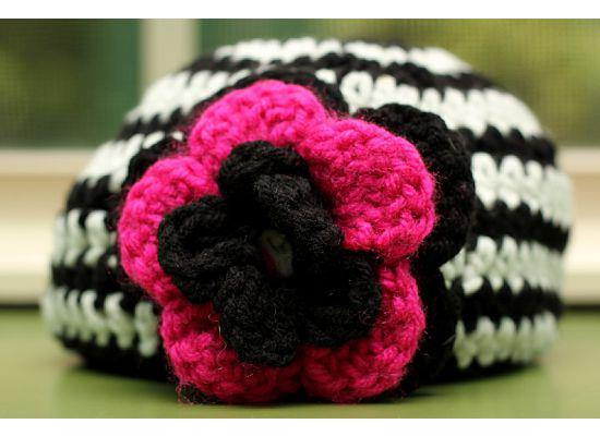 Black & White Striped Crochet Hat with Triple-Layered Black & Pink Flowers - Maddies Mad Hatters