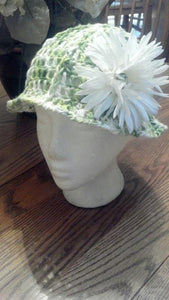 White and Green Brim Hat with Flower