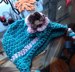 Teal and Pink Flower Hat