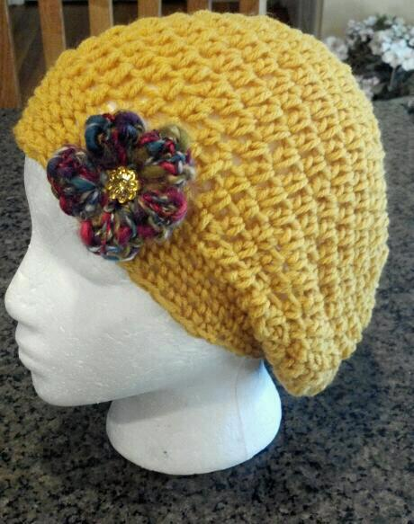Slouch Beanie Crochet Hat with Flower