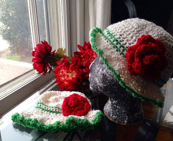 Summer Trim Bonnet Crochet Hat with Triple Roses - Maddies Mad Hatters
