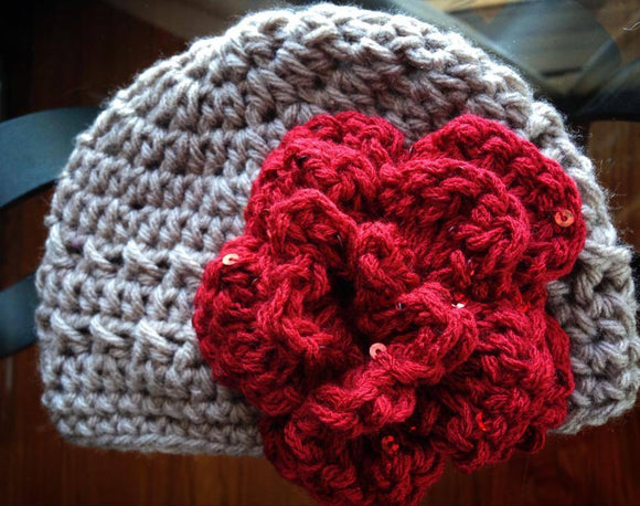 Gray Crochet Hat with Sequined Flower