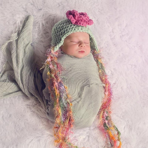 Honeydew Crochet Bonnet Hat with Pink Carnation Flower and Novelty Tassels - Maddies Mad Hatters
