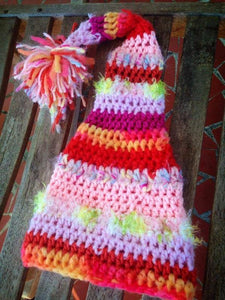 Long Tail Crochet Hat with Pom and Novelty Yarns - Maddies Mad Hatters