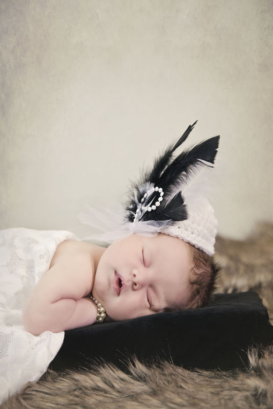 White & Black Vintage Pillbox Crochet Hat with Feathers - Maddies Mad Hatters
