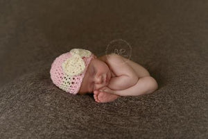 Pink & Creasm Crochet Bow Hat