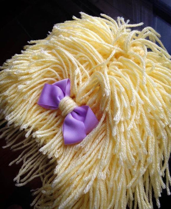Blonde Pebbles Crochet Wig Hat with Bow