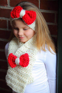 HA20 Crochet red and cream Bow Hairband