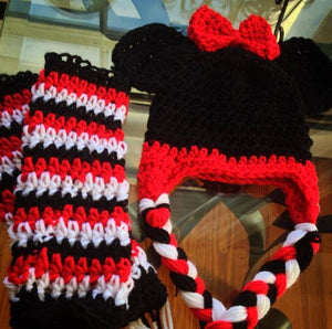 Mouse Crochet Hat with Bow and Tassels - Maddies Mad Hatters