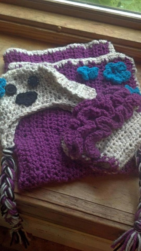 Ruffle Bottoms Crochet Puppy Dog Blanket and Diaper Cover Set