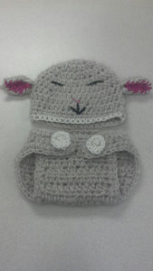 Sheep Crochet Hat and Diaper Cover Set